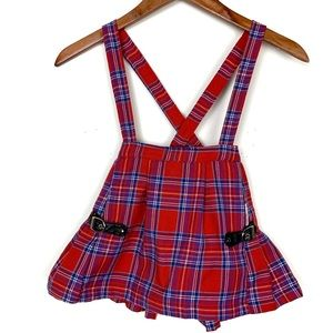 Care Bear Red Plaid Buckle Skort Overalls